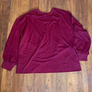 Drop Shoulder Wrap Split Back Pullover